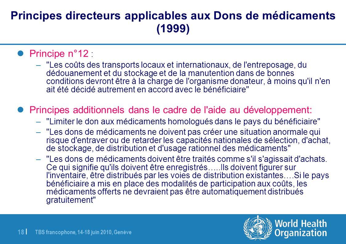 Principes directeurs applicables aux Dons de médicaments (1999)
