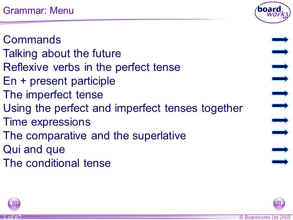 Talking about the future Reflexive verbs in the perfect tense