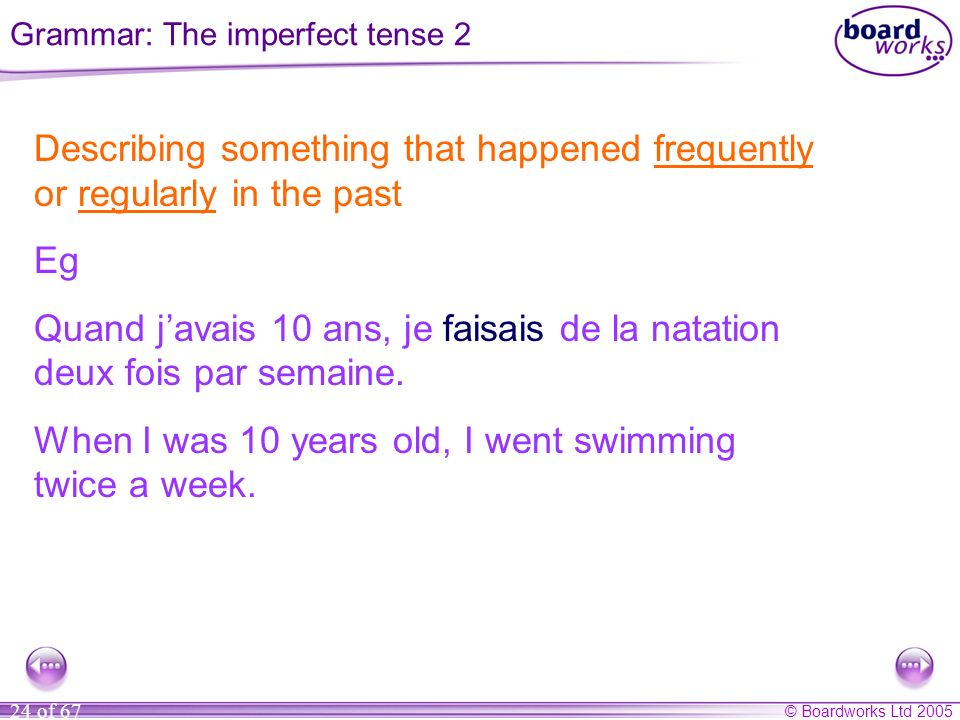 Grammar: The imperfect tense 2