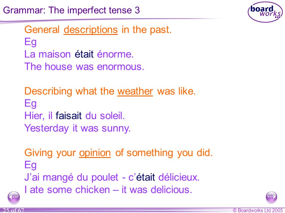 Grammar: The imperfect tense 3