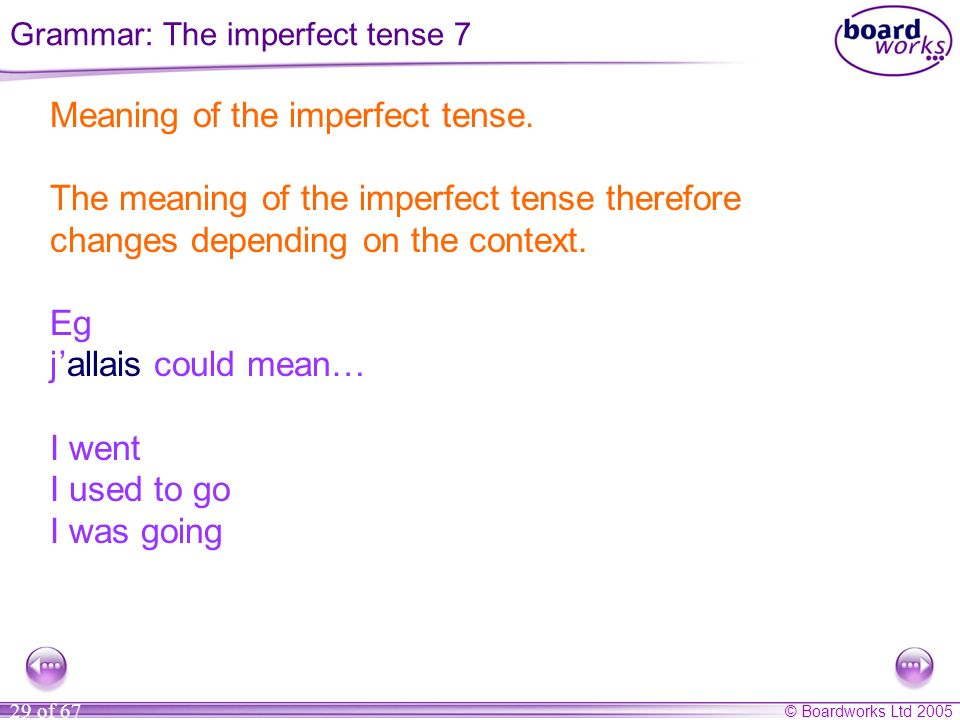 Grammar: The imperfect tense 7