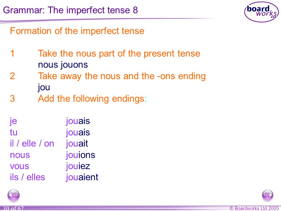 Grammar: The imperfect tense 8