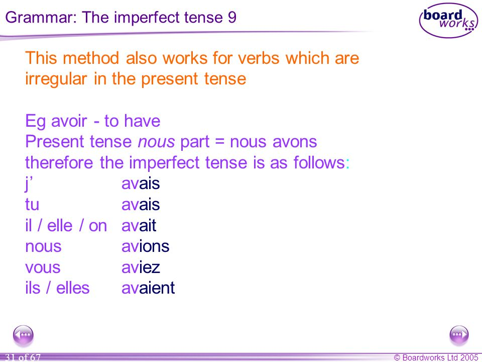 Grammar: The imperfect tense 9