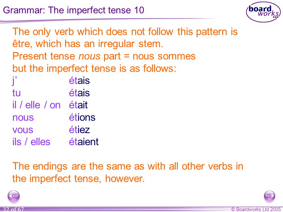 Grammar: The imperfect tense 10