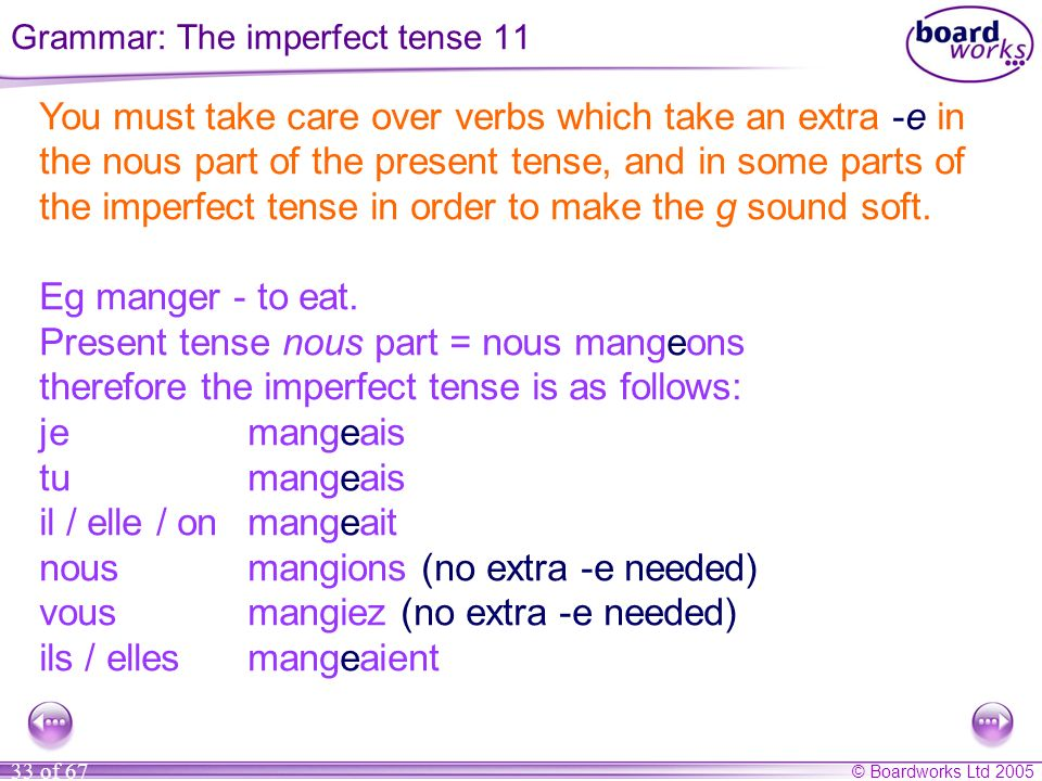 Grammar: The imperfect tense 11