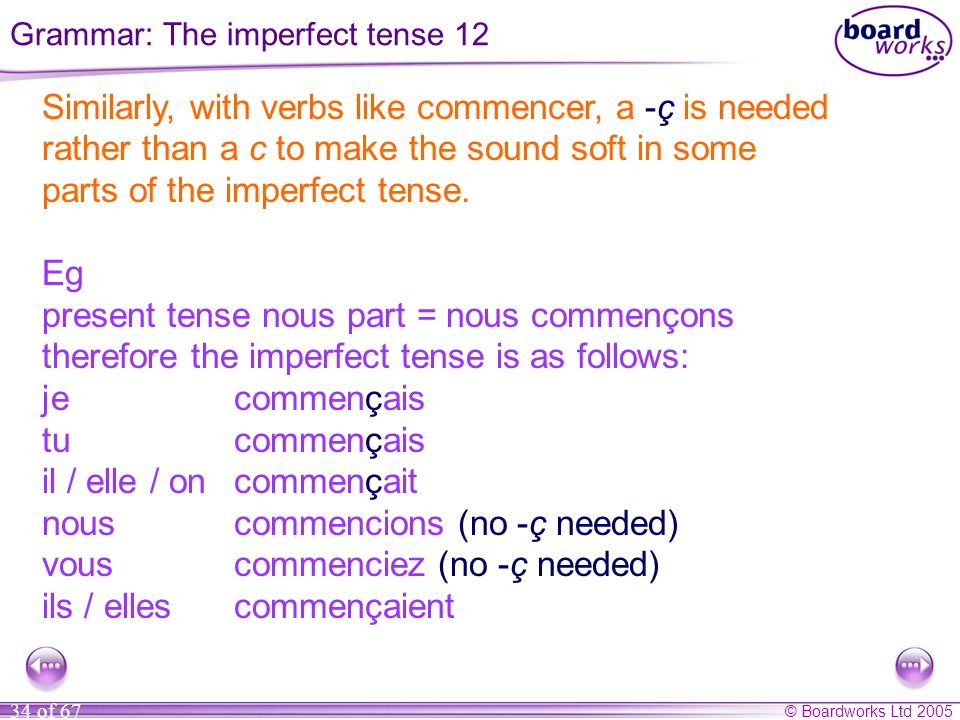 Grammar: The imperfect tense 12