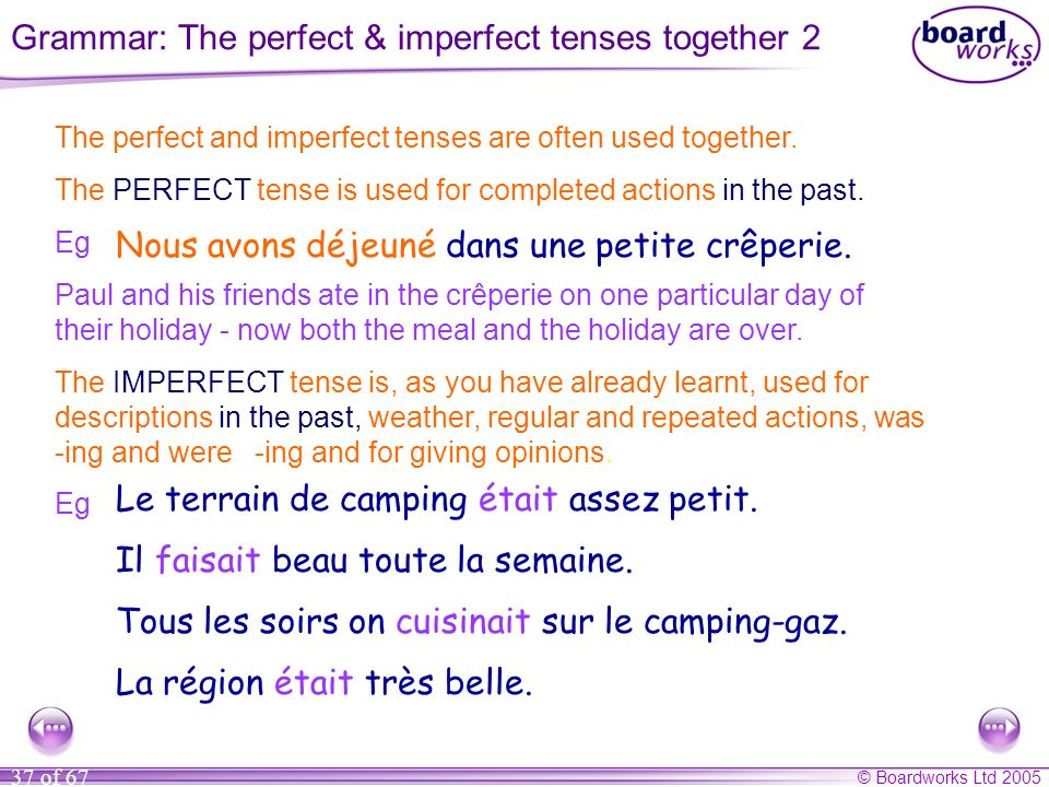 Grammar: The perfect & imperfect tenses together 2