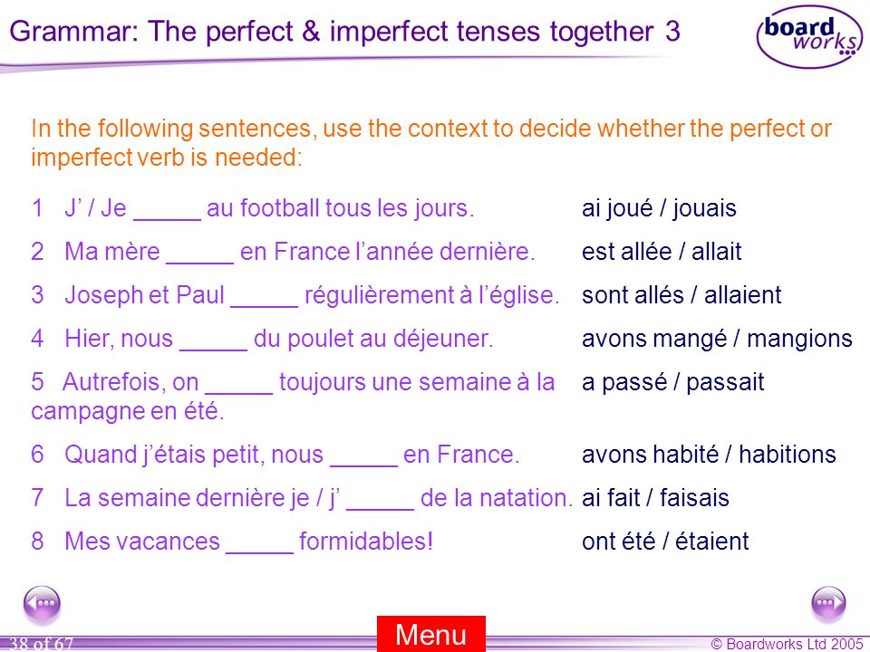 Grammar: The perfect & imperfect tenses together 3