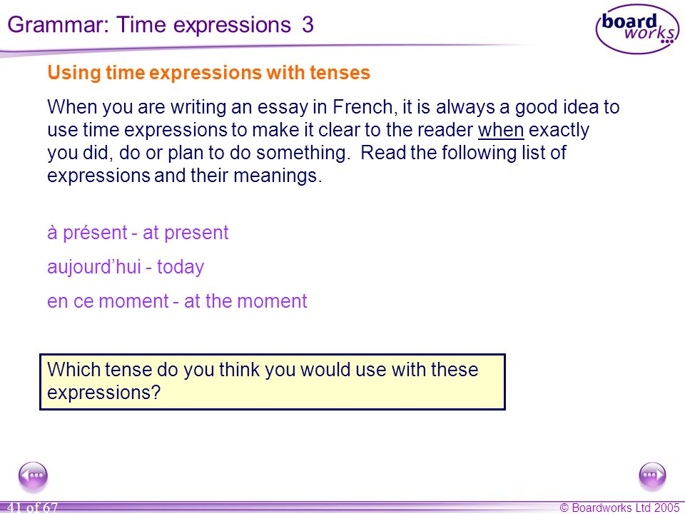 Grammar: Time expressions 3