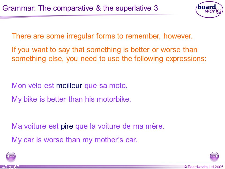 Grammar: The comparative & the superlative 3