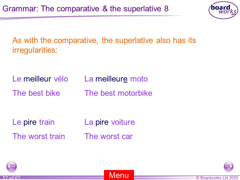 Grammar: The comparative & the superlative 8