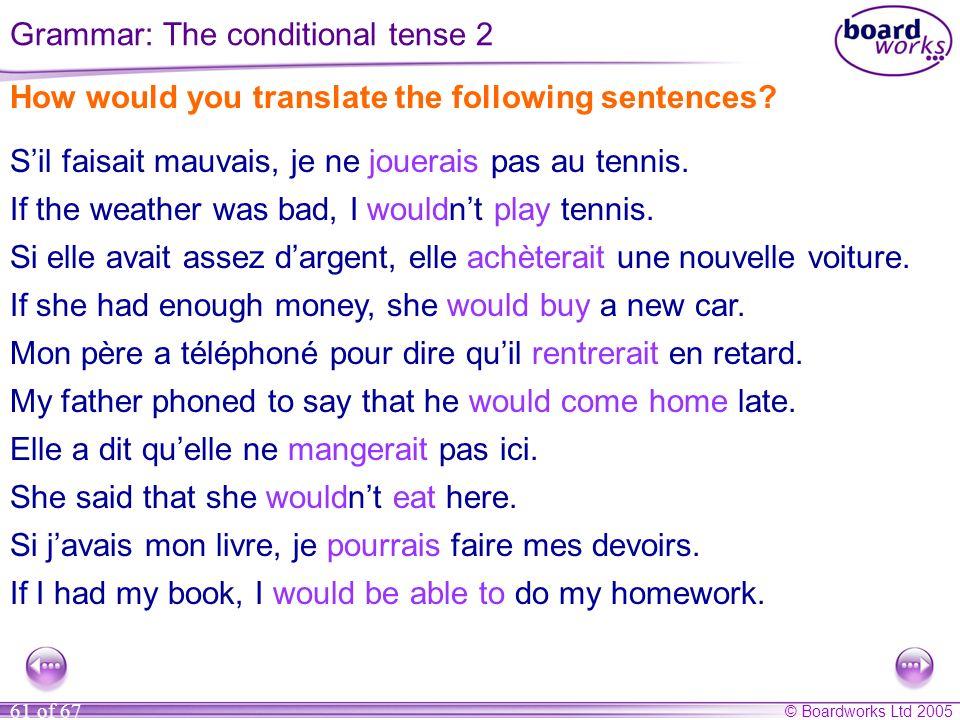 Grammar: The conditional tense 2