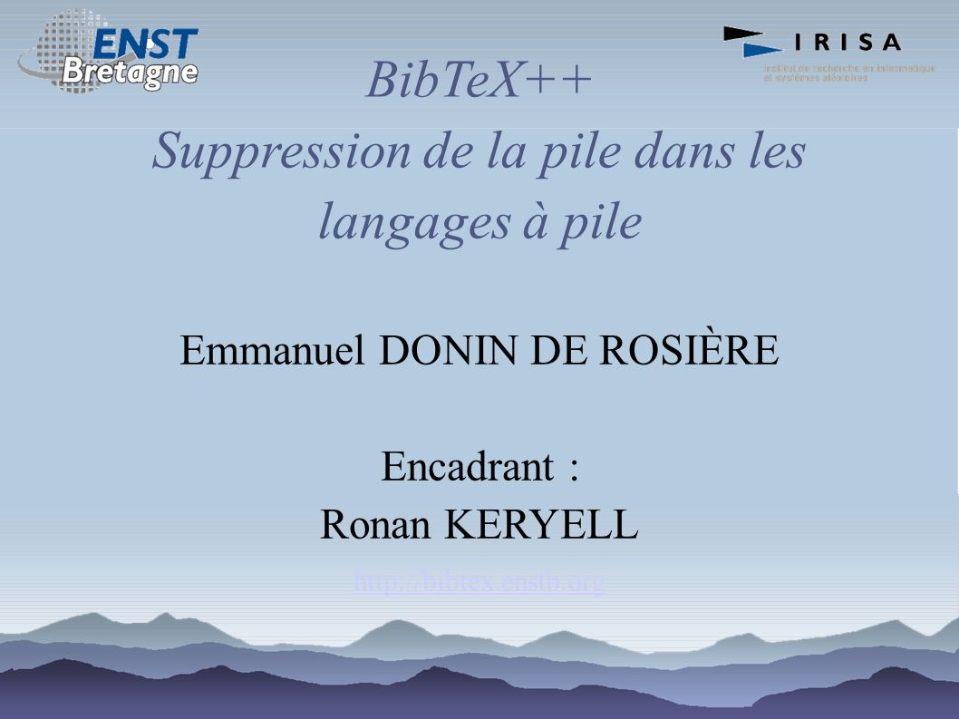 BibTeX++ Suppression de la pile dans les langages à pile