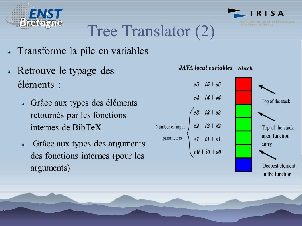 Tree Translator (2) Transforme la pile en variables