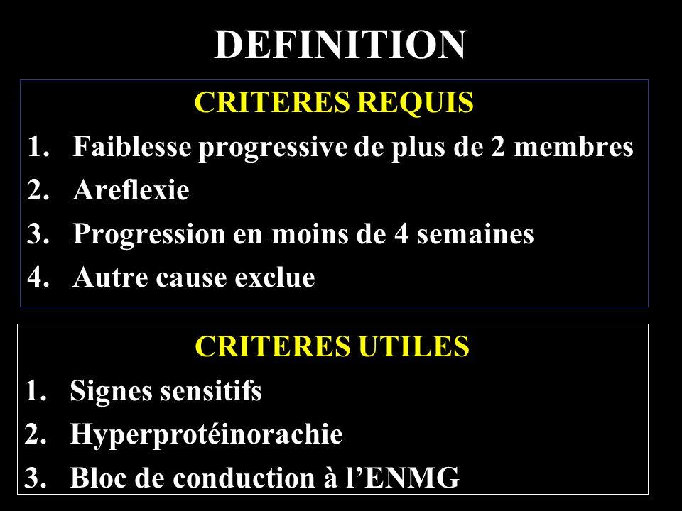 DEFINITION CRITERES REQUIS Faiblesse progressive de plus de 2 membres