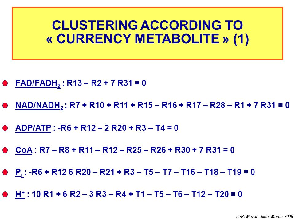 CLUSTERING ACCORDING TO « CURRENCY METABOLITE » (1)