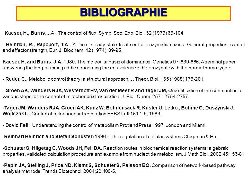 BIBLIOGRAPHIE - Kacser, H., Burns, J.A., The control of flux, Symp. Soc. Exp. Biol. 32 (1973) 65-104.
