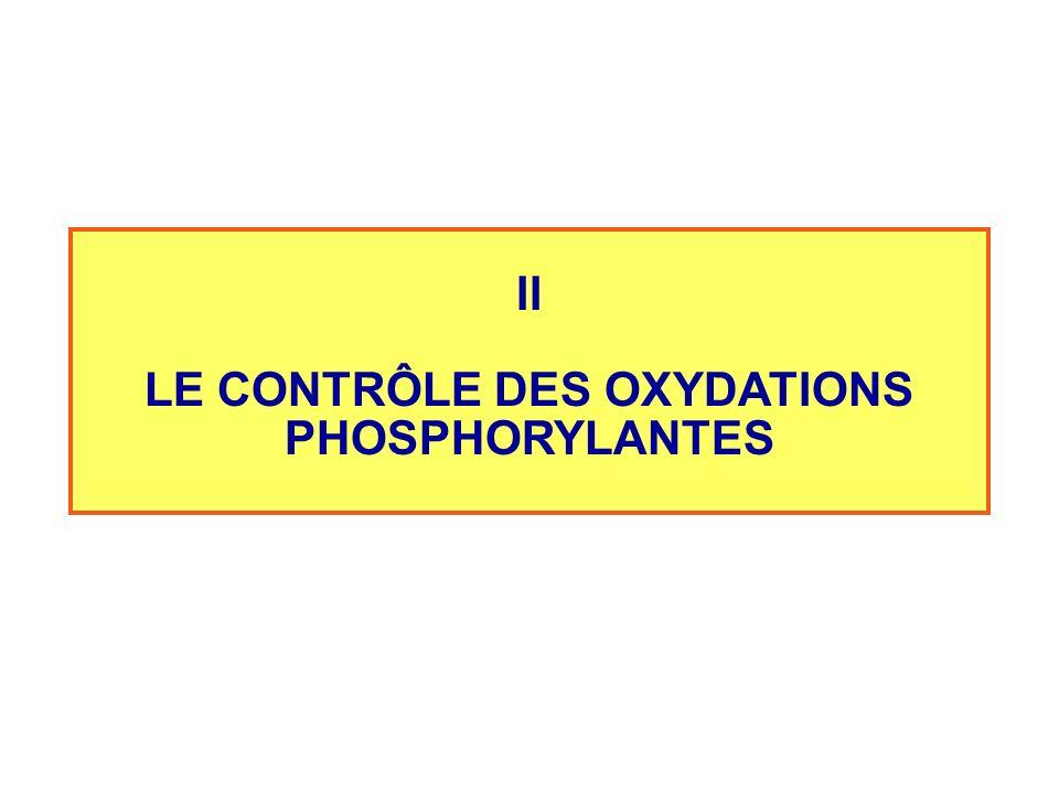 LE CONTRÔLE DES OXYDATIONS PHOSPHORYLANTES
