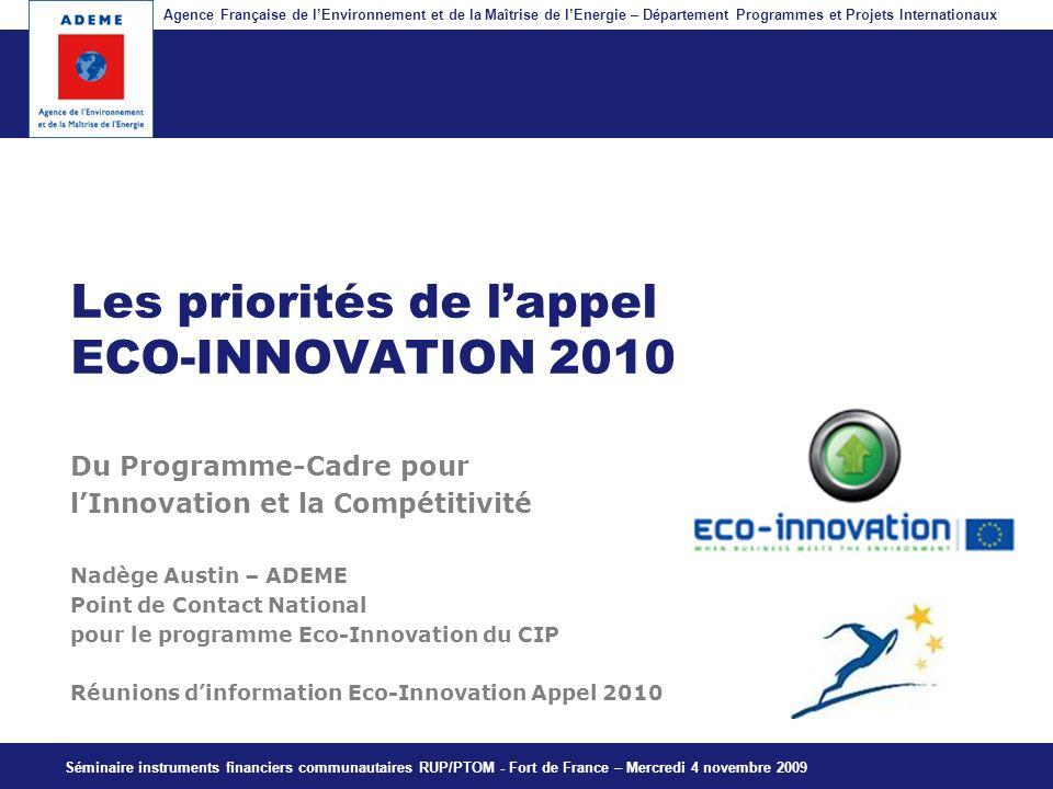 Les priorités de l'appel ECO-INNOVATION 2010