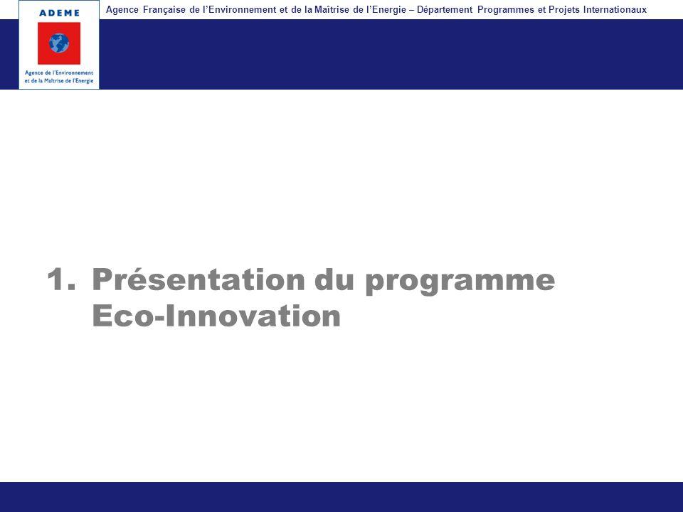 Présentation du programme Eco-Innovation