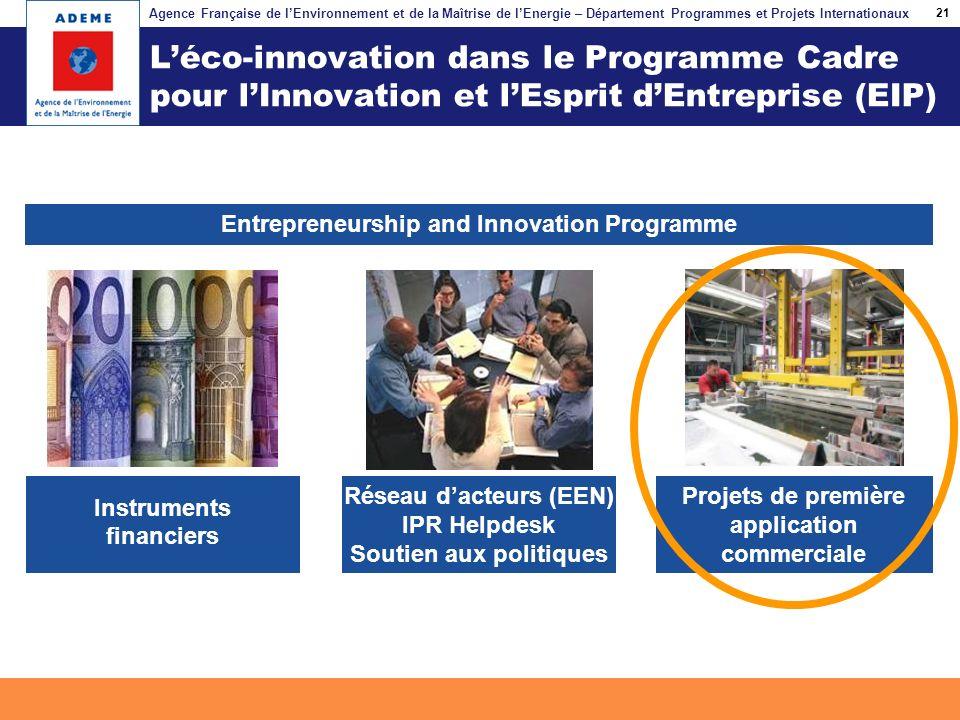 21 L'éco-innovation dans le Programme Cadre pour l'Innovation et l'Esprit d'Entreprise (EIP) Entrepreneurship and Innovation Programme.