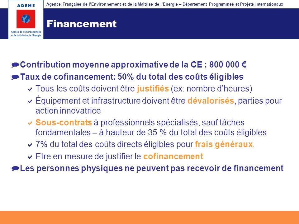 Financement Contribution moyenne approximative de la CE : 800 000 €
