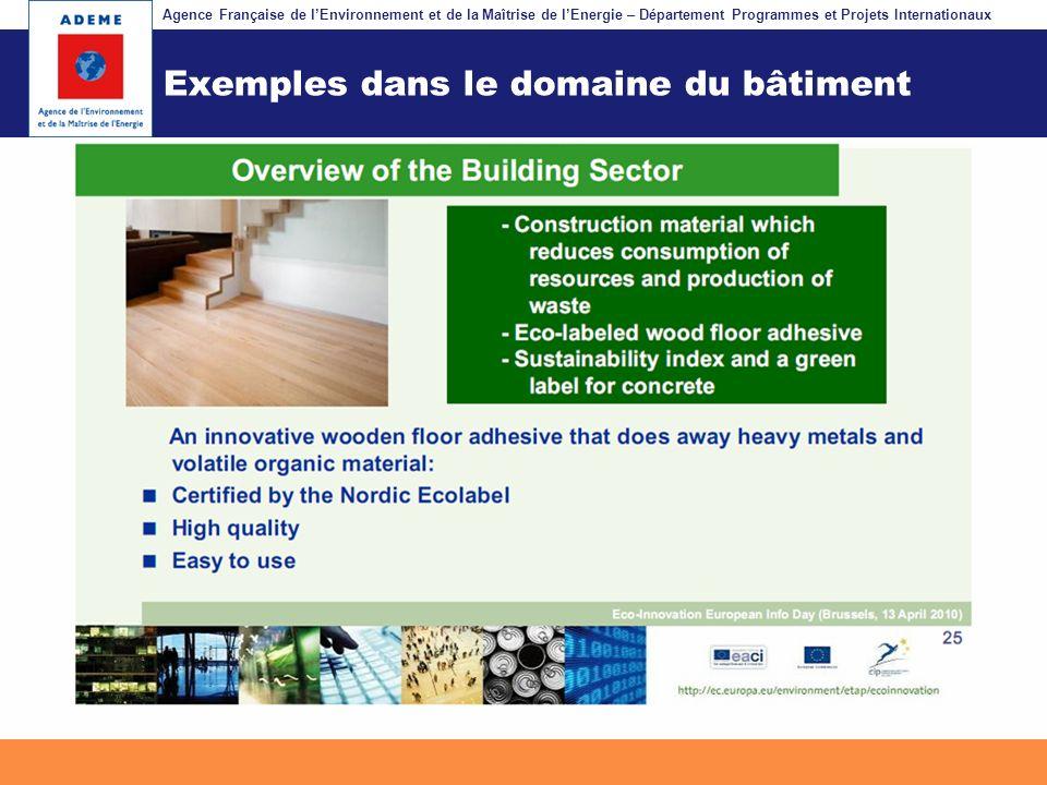 Exemples dans le domaine du bâtiment