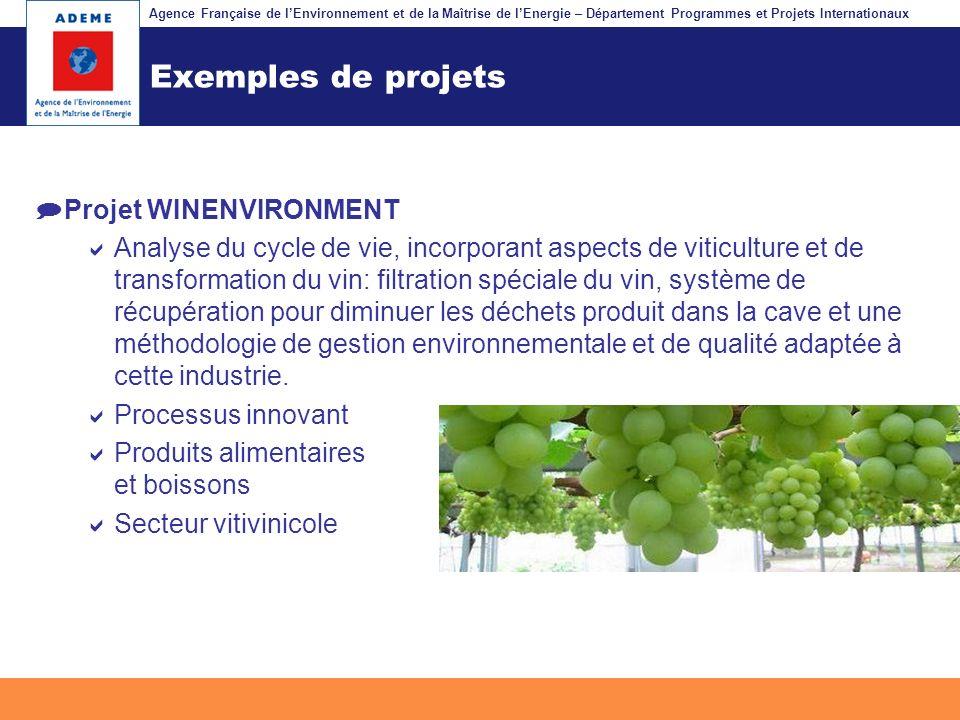 Exemples de projets Projet WINENVIRONMENT