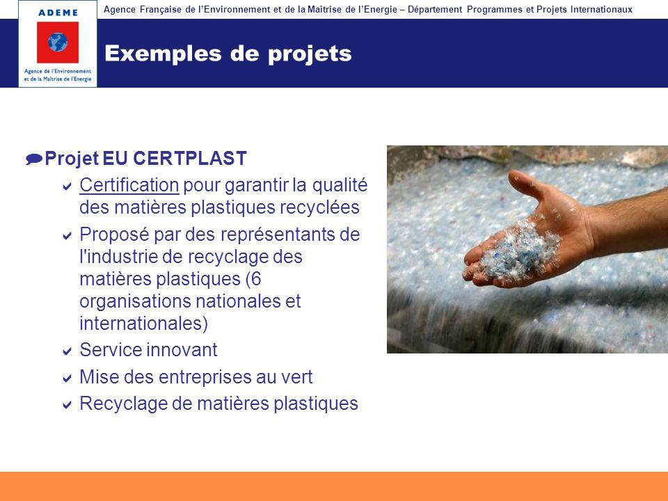 Exemples de projets Projet EU CERTPLAST