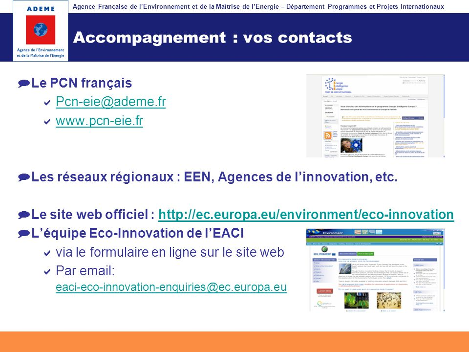 Accompagnement : vos contacts