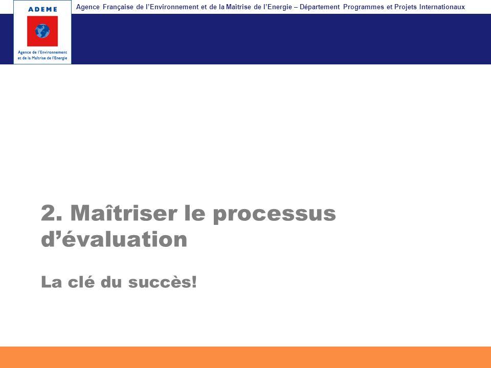 2. Maîtriser le processus d'évaluation La clé du succès!