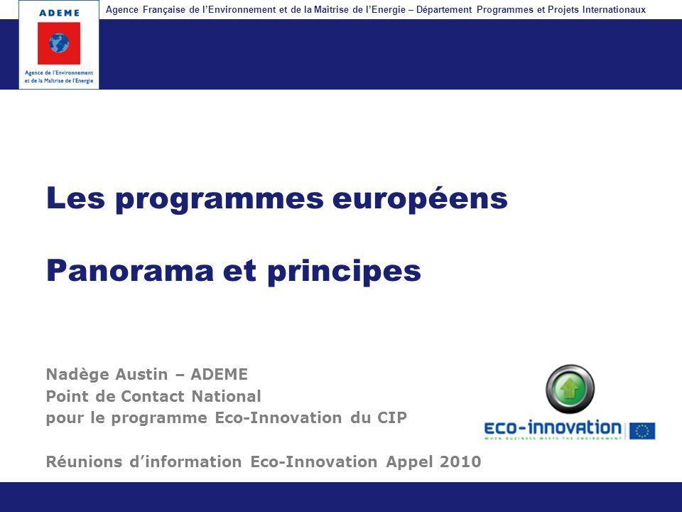 Les programmes européens Panorama et principes
