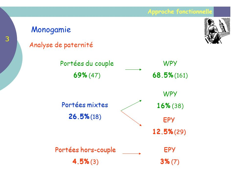 Monogamie 3 Analyse de paternité Portées du couple 69% (47) WPY