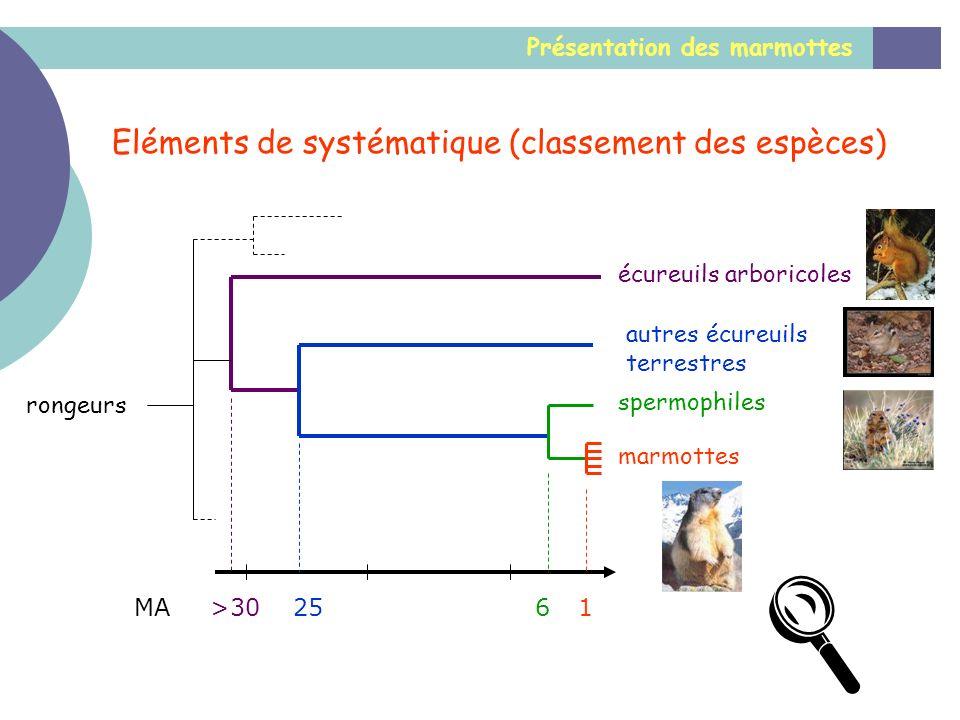  Eléments de systématique (classement des espèces)