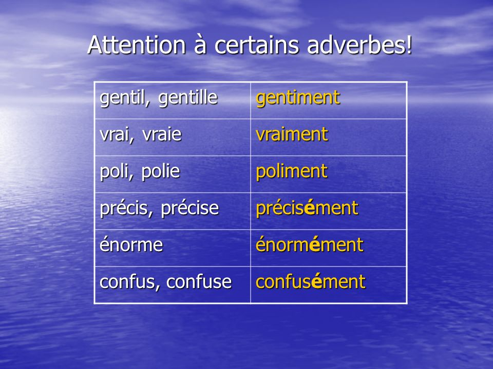 Attention à certains adverbes!