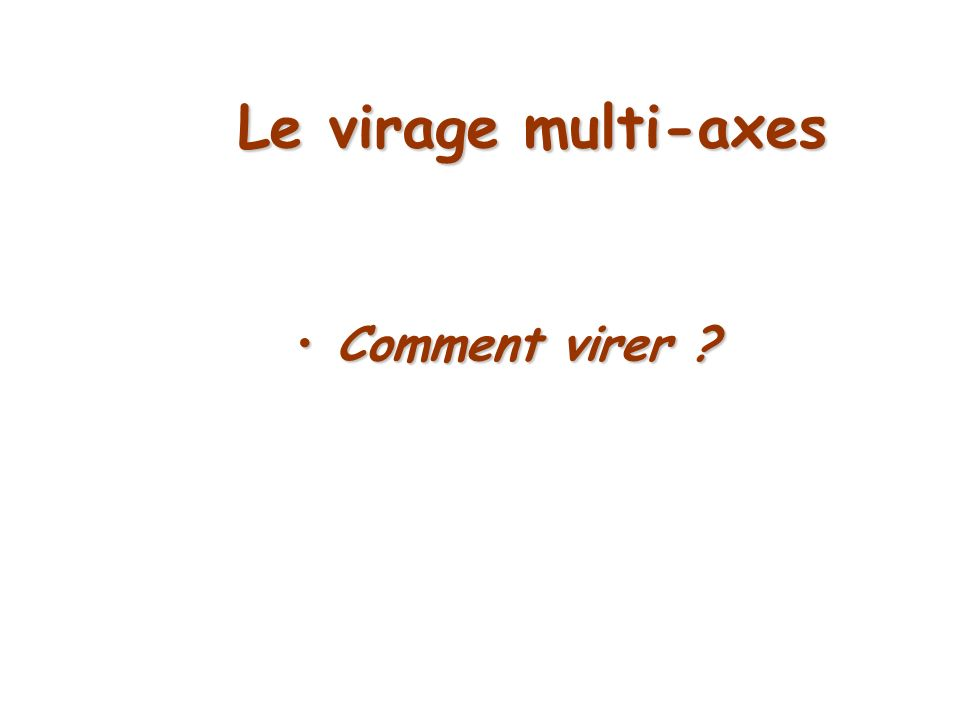 Le virage multi-axes Comment virer