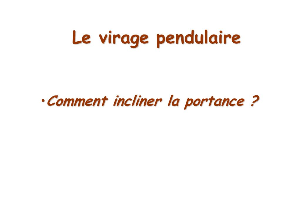 Comment incliner la portance