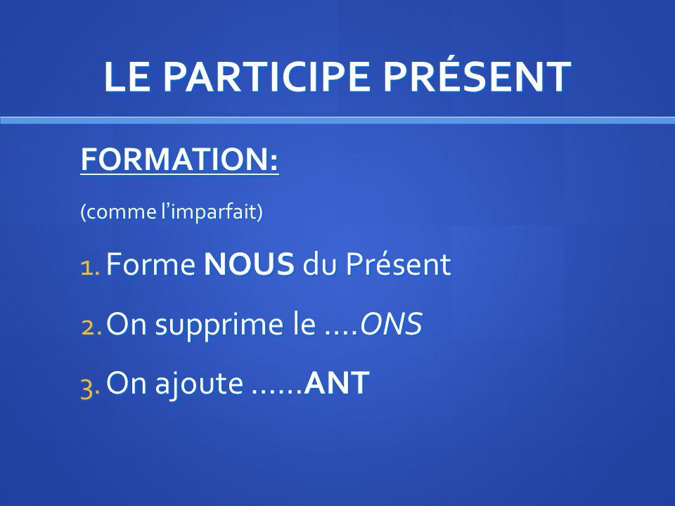 LE PARTICIPE PRÉSENT FORMATION: Forme NOUS du Présent