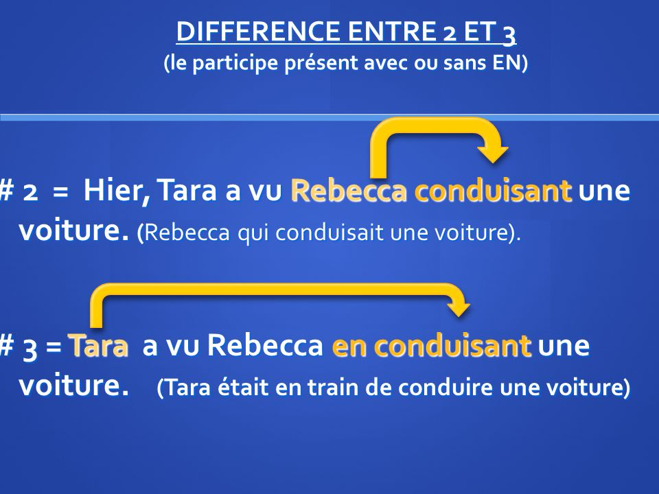 DIFFERENCE ENTRE 2 ET 3 (le participe présent avec ou sans EN)