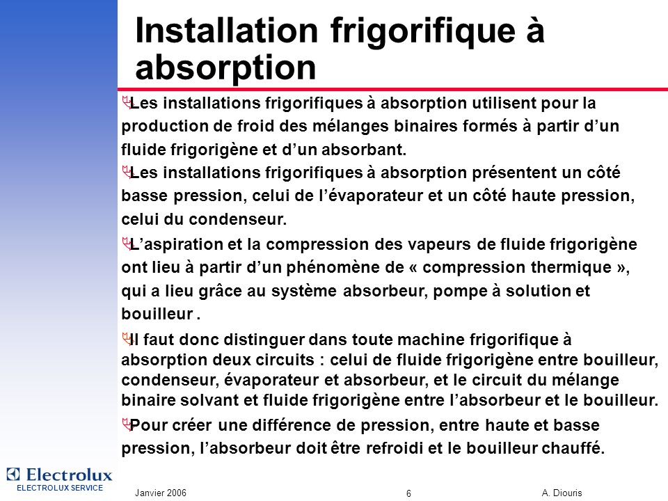 Installation frigorifique à absorption