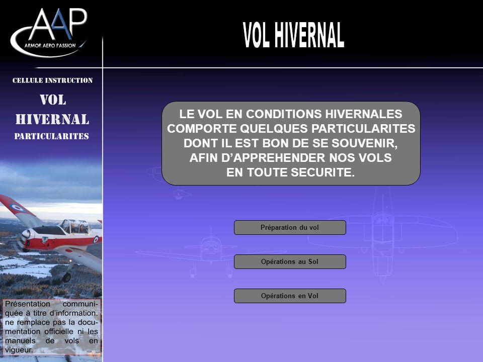 LE VOL EN CONDITIONS HIVERNALES COMPORTE QUELQUES PARTICULARITES