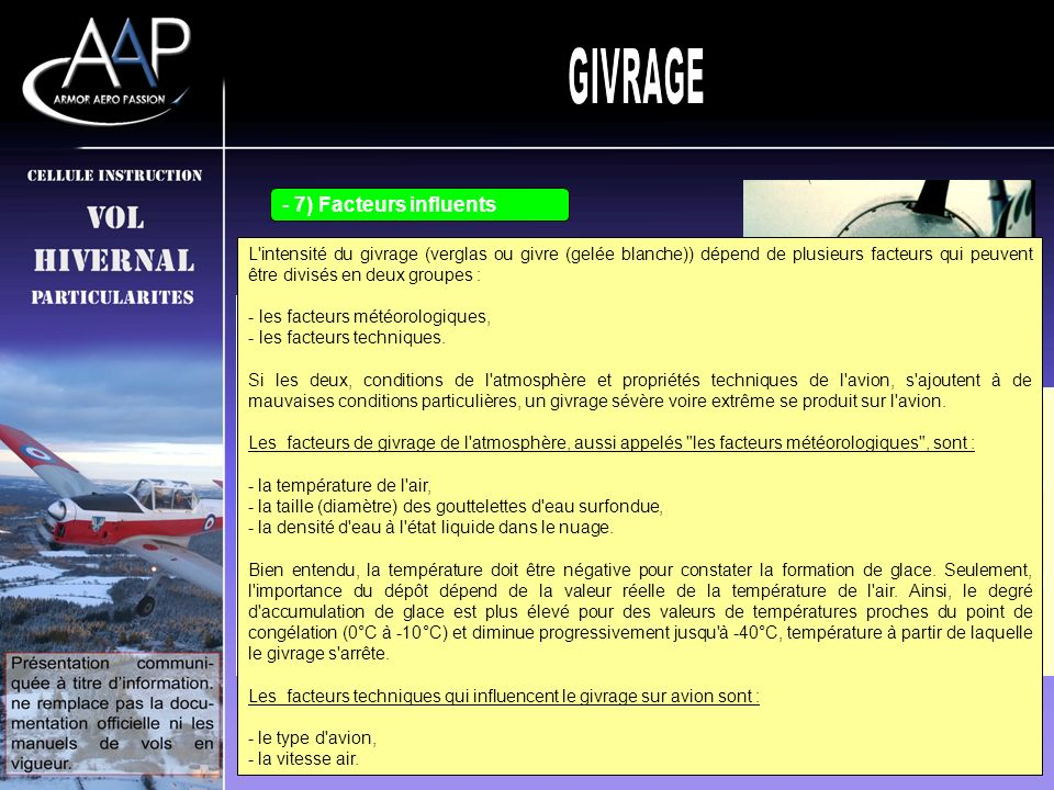GIVRAGE 7) Facteurs influents 6) Le givre