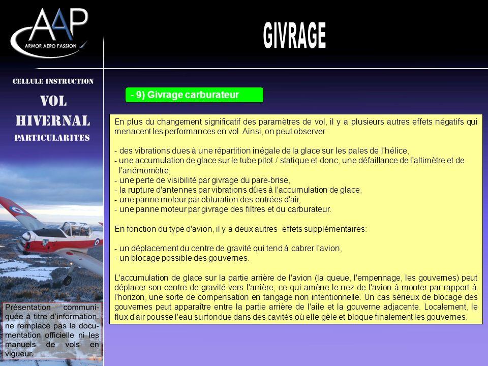 GIVRAGE 9) Givrage carburateur 8) Effets indésirables