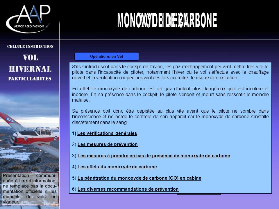 MONOXYDE DE CARBONE VOL HIVERNAL GIVRAGE GIVRAGE CARBURATEUR