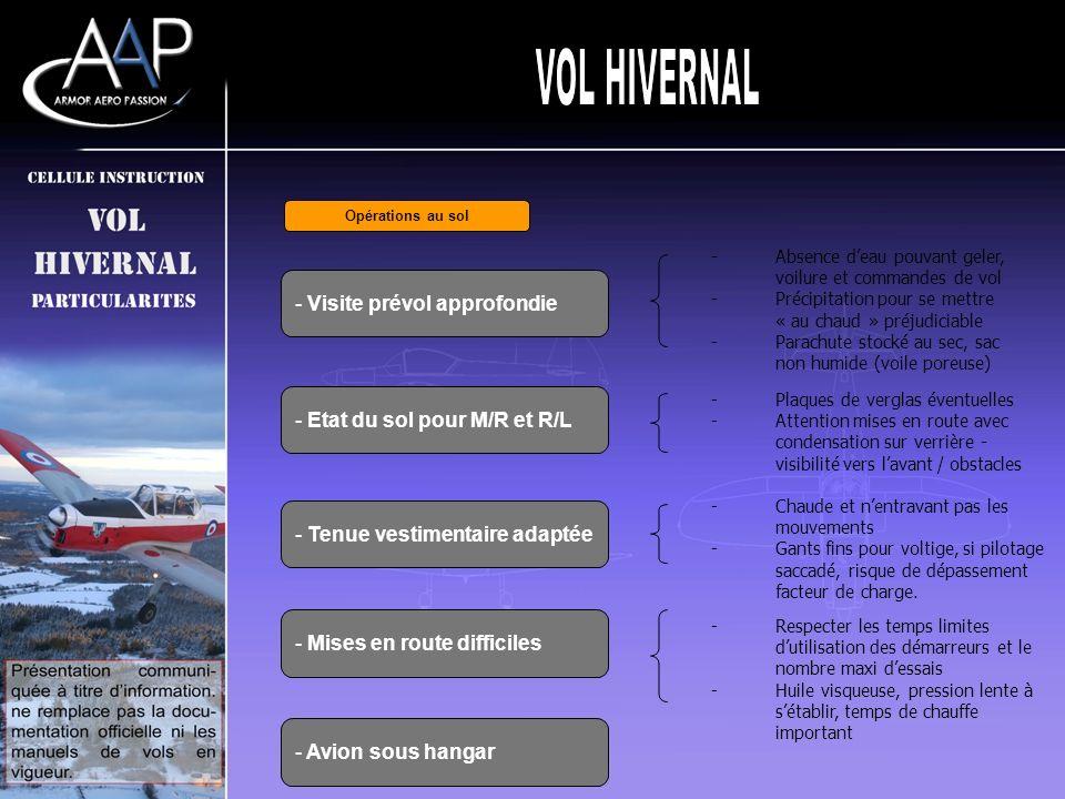 VOL HIVERNAL Visite prévol approfondie Etat du sol pour M/R et R/L