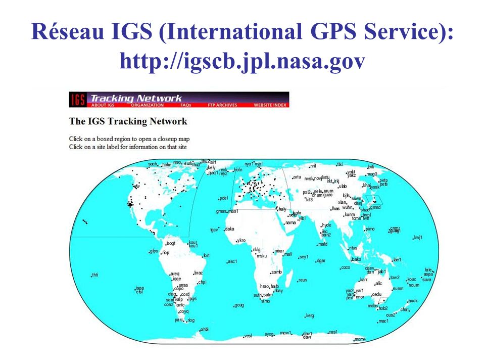 Réseau IGS (International GPS Service): http://igscb.jpl.nasa.gov