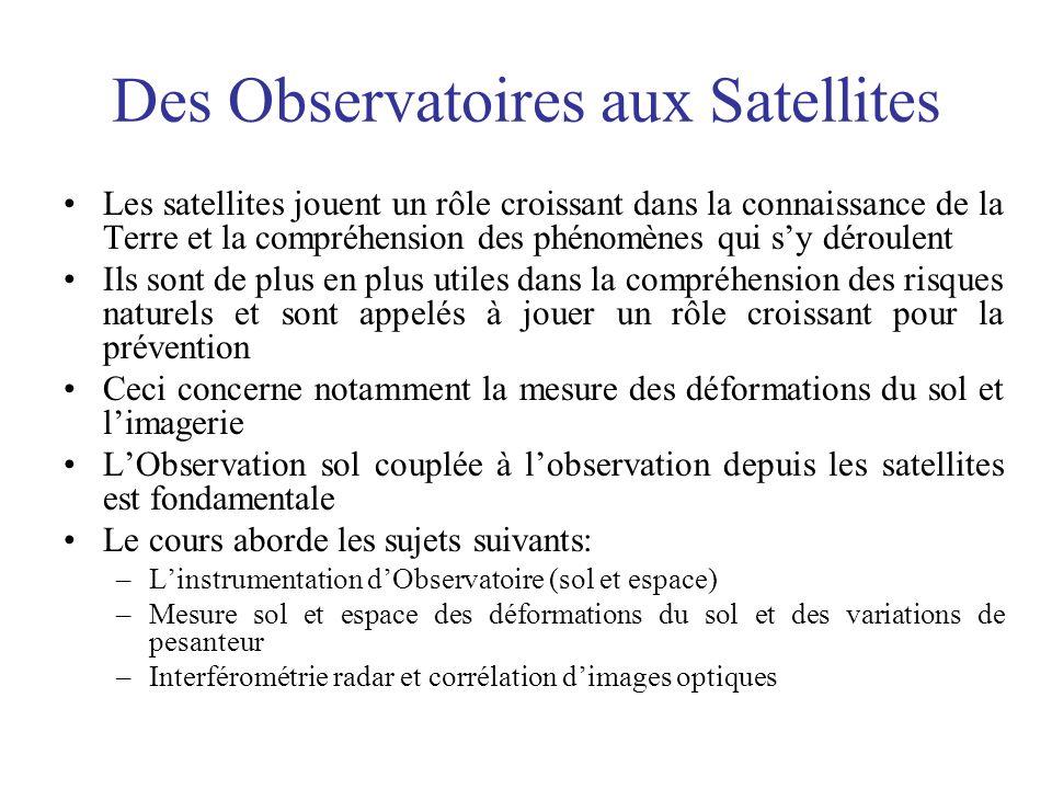 Des Observatoires aux Satellites