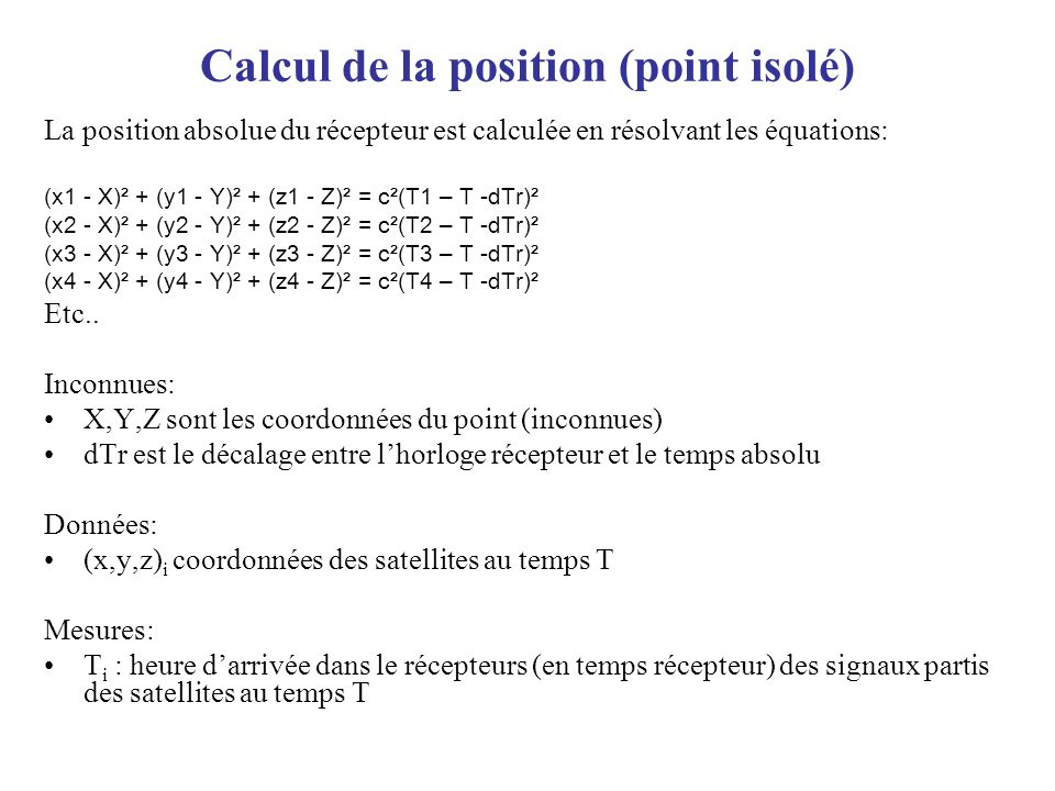 Calcul de la position (point isolé)