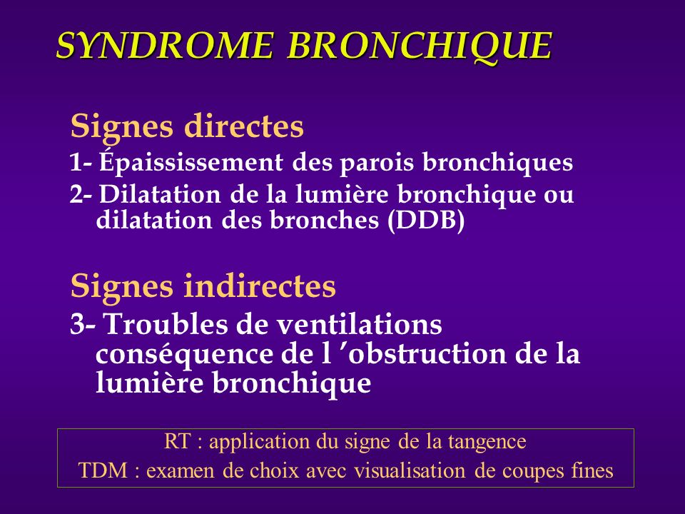 SYNDROME BRONCHIQUE Signes directes Signes indirectes