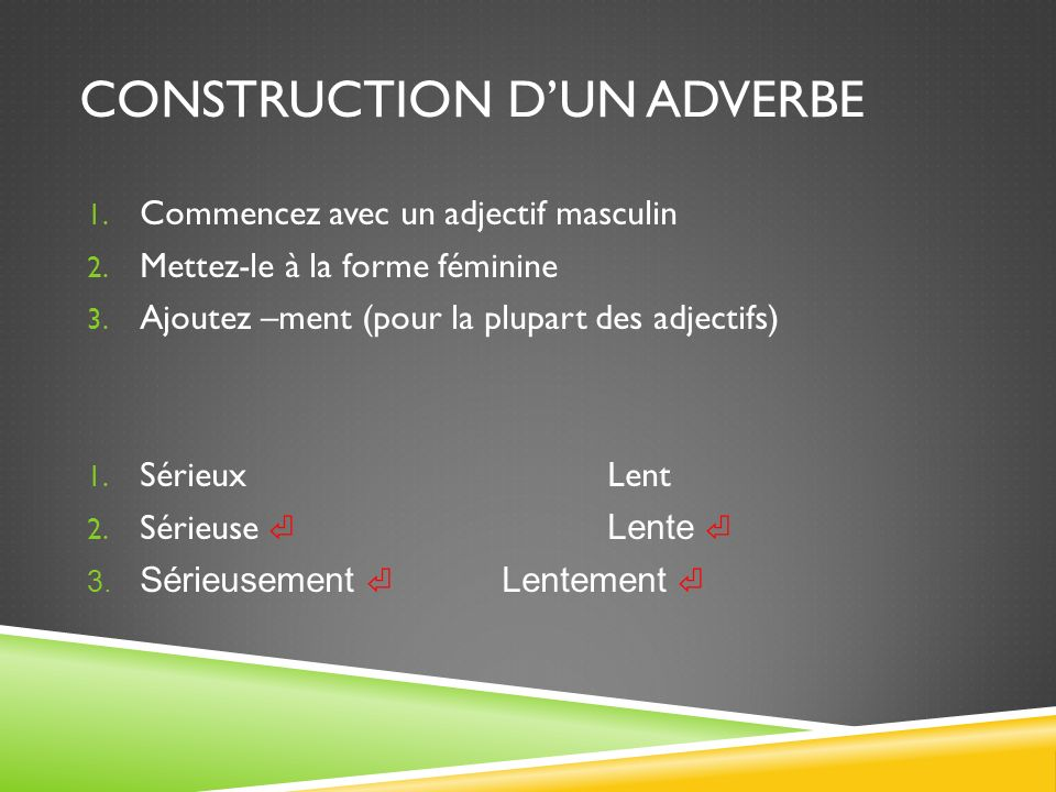 Construction d'un adverbe